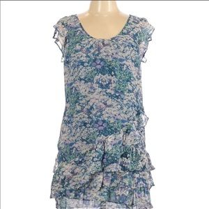 Eliot Madewell silk floral watercolor tiered dress